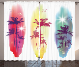Palm Trees Seagulls Curtain