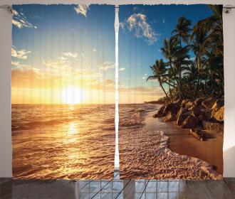 Palm Trees on Beach Curtain