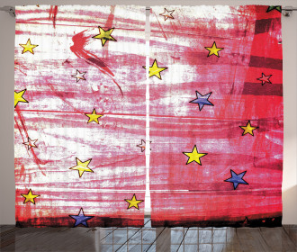 Red Grunge Celestial Curtain