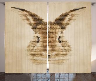 Dots Bunny Geometric Curtain