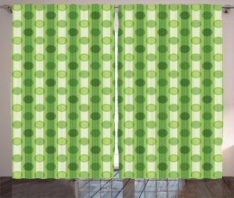 Polka Dots Striped Retro Curtain