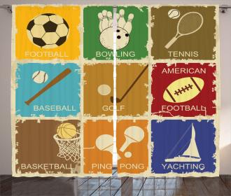Sports Label Icon Art Curtain