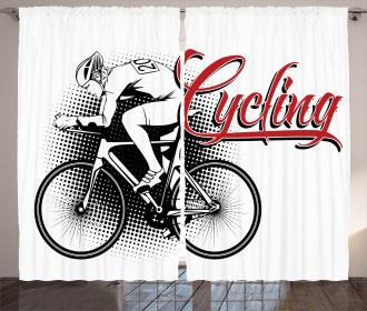 Cycling Man Sport Bike Curtain