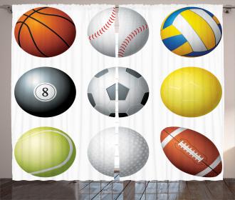 Sports Balls Pattern Curtain