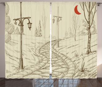 Sketchy Park Alley Curtain