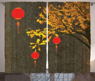 Autumn Tree Vintage Curtain