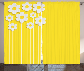 Cartoon Spring Flowers Curtain