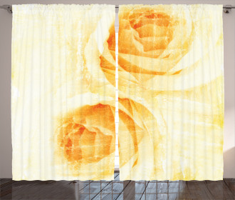 Watercolor Rose Flower Curtain