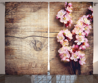 Spring Blossom on Wood Curtain