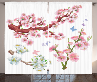 Vivid Flowering Branch Curtain