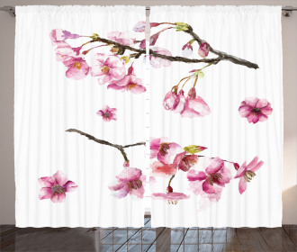 Watercolor Art Flower Curtain