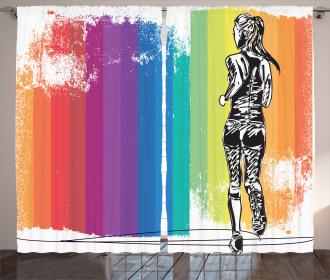 Marathon Runner Ombre Curtain