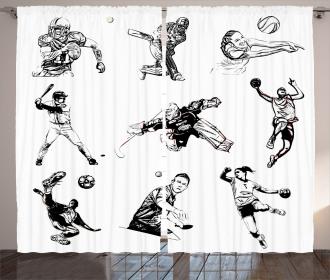 Sports Theme Sketch Curtain