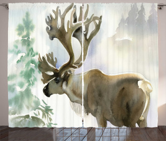 Winter Forest Paint Style Curtain