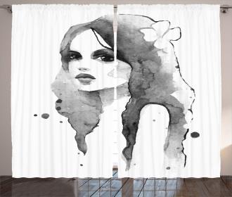 Watercolor Portrait Art Curtain