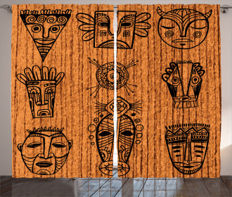 Tribal Native Masks Curtain