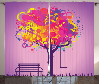 Colorful Leaves Swing Art Curtain