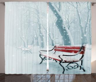 Snowy Bench Misty Path Curtain