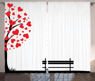 Tree Heart Leaves Curtain