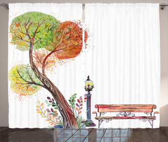 Autumn Day in Park Vintage Curtain