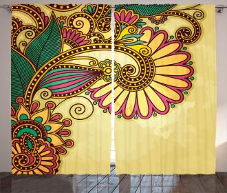 Paisley Flowers Leaves Curtain