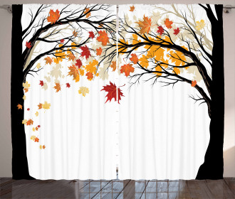 Trees with Dried Leaves Curtain