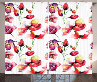 Blooming Tulip Poppy Curtain