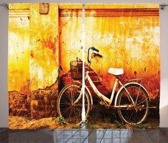 Bike Rusty Cracked Wall Curtain