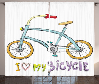Bicycle Kids Love Quote Curtain