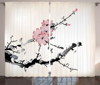 Asian Watercolor Art Curtain