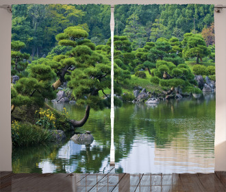 River Landscape Trees Curtain