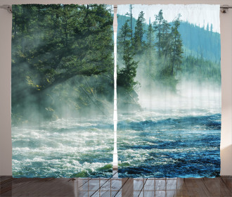 River Trees Nature Curtain