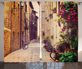 Street in Italy Flowers Curtain