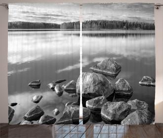 Rock in Lake Shore Curtain
