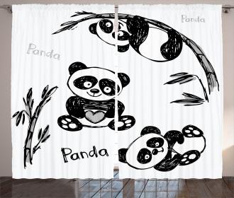 Hand Drawn Panda Poses Curtain