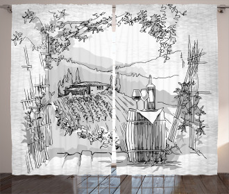 Valley Winery House Art Curtain