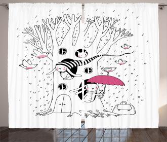 Birds Rabbits Tree Rainy Curtain