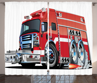 Fire Truck Rescue Team Curtain