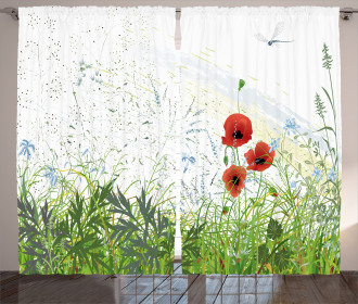 Red Poppies Dragonfly Curtain