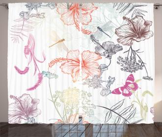 Hibiscus Moth Ornate Curtain