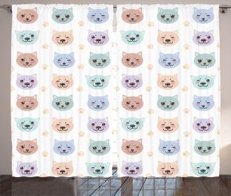 Cute Smiley Cat Muzzle Curtain