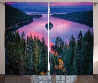 Forest and Lake View Curtain