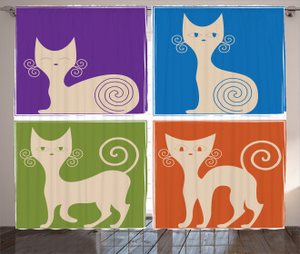 Cartoon Cats Emotions Curtain