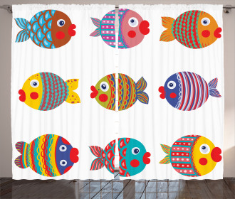 Folkloric Fish Family Curtain