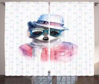 Retro Hipster Raccoon Curtain