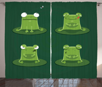 Frogs in Pond Lily Pad Curtain