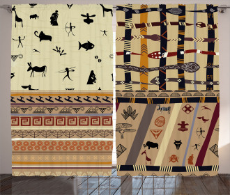 Primitive Native Animals Curtain