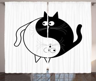 Ying Yang Black White Art Curtain