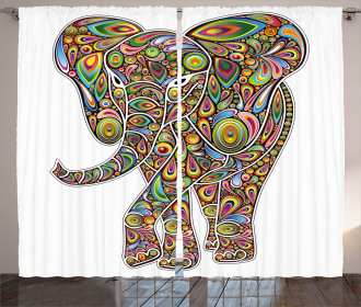 Boho Elephant Art Curtain