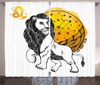 Zodiac Leo Symbol Art Curtain